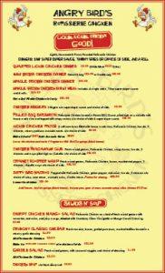angry birds menu